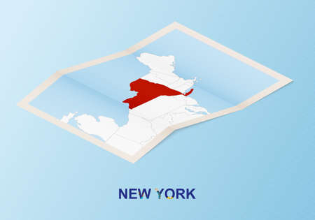 Folded paper map of New York with neighboring countries in isometric style on blue vector background.