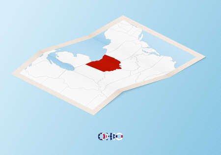 Folded paper map of Ohio with neighboring countries in isometric style on blue vector background.