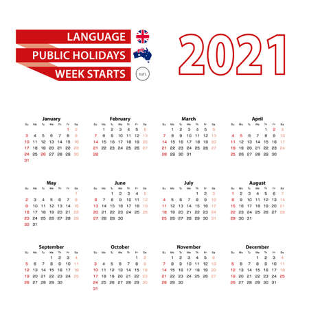 Calendar 2021 in English language with public holidays the country of Australia in year 2021. Week starts from Sunday. Vector Illustration.