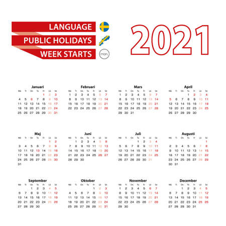 Calendar 2021 in Swedish language with public holidays the country of Sweden in year 2021. Week starts from Monday. Vector Illustration.