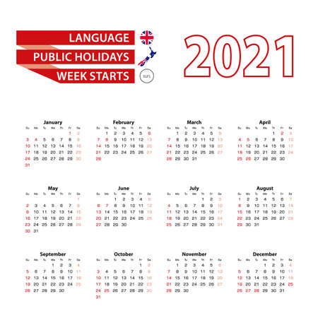 Calendar 2021 in English language with public holidays the country of New Zealand in year 2021. Week starts from Sunday. Vector Illustration.
