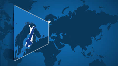 Location of Finland on the World Map with Enlarged Map of Finland with Flag. Geographical Vector Template for your design. 向量圖像