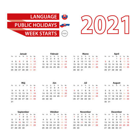 Calendar 2021 in Slovak language with public holidays the country of Slovakia in year 2021. Week starts from Monday. Vector Illustration.