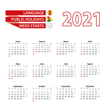 Calendar 2021 in Spanish language with public holidays the country of Bolivia in year 2021. Week starts from Sunday. Vector Illustration.