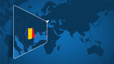 Location of Romania on the World Map with Enlarged Map of Romania with Flag. Geographical Vector Template for your design.