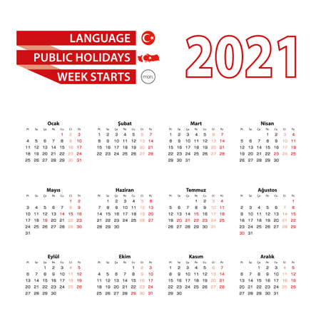 Calendar 2021 in Turkish language with public holidays the country of Turkey in year 2021. Week starts from Monday. Vector Illustration.
