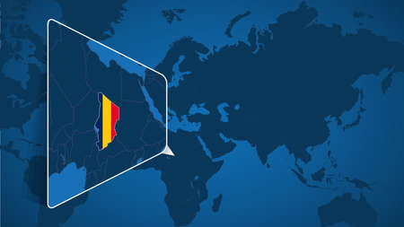 Location of Chad on the World Map with Enlarged Map of Chad with Flag. Geographical Vector Template for your design.