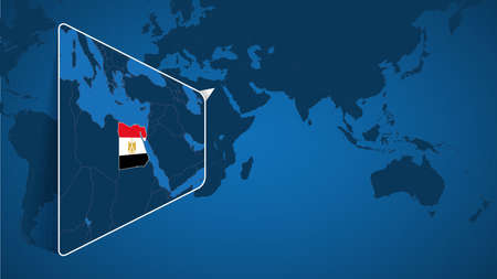 Location of Egypt on the World Map with Enlarged Map of Egypt with Flag. Geographical Vector Template for your design. 向量圖像