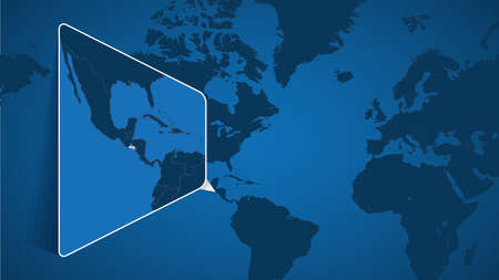 Location of El Salvador on the World Map with Enlarged Map of El Salvador with Flag. Geographical Vector Template for your design.