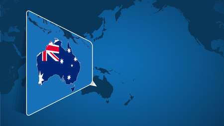 Location of Australia on the World Map with Enlarged Map of Australia with Flag. Geographical Vector Template for your design.