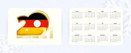 Horizontal Pocket Calendar 2021 in German language. New Year 2021 icon with flag of Germany. Vector calendar. Illusztráció