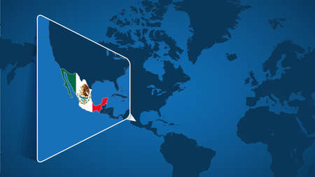 Location of Mexico on the World Map with Enlarged Map of Mexico with Flag. Geographical Vector Template for your design.