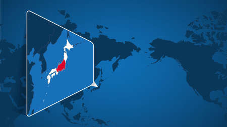 Location of Japan on the World Map with Enlarged Map of Japan with Flag. Geographical Vector Template for your design.