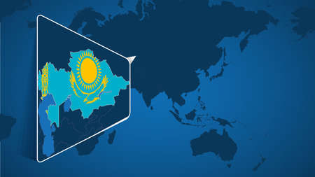 Location of Kazakhstan on the World Map with Enlarged Map of Kazakhstan with Flag. Geographical Vector Template for your design.