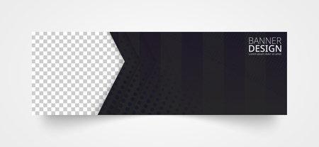 Horizontal header web banner design in black color. Vector template.