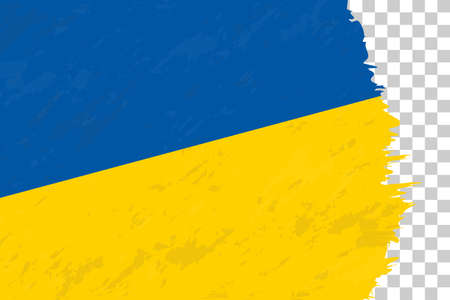 Horizontal Abstract Grunge Brushed Flag of Ukraine on Transparent Grid. Vector Template.