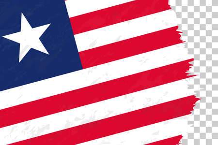 Horizontal Abstract Grunge Brushed Flag of Liberia on Transparent Grid. Vector Template.