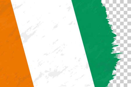 Horizontal Abstract Grunge Brushed Flag of Ivory Coast on Transparent Grid. Vector Template.  イラスト・ベクター素材