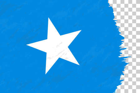 Horizontal Abstract Grunge Brushed Flag of Somalia on Transparent Grid. Vector Template.