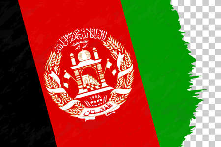 Horizontal Abstract Grunge Brushed Flag of Afghanistan on Transparent Grid. Vector Template.
