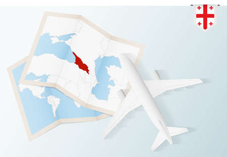 Travel to Georgia, top view airplane with map and flag of Georgia. Travel and tourism banner design.