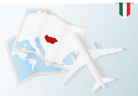 Travel to Hungary, top view airplane with map and flag of Hungary. Travel and tourism banner design.