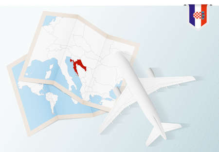Travel to Croatia, top view airplane with map and flag of Croatia. Travel and tourism banner design.