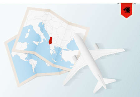 Travel to Albania, top view airplane with map and flag of Albania. Travel and tourism banner design.