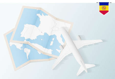 Travel to Andorra, top view airplane with map and flag of Andorra. Travel and tourism banner design.