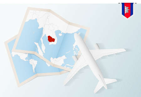 Travel to Cambodia, top view airplane with map and flag of Cambodia. Travel and tourism banner design.