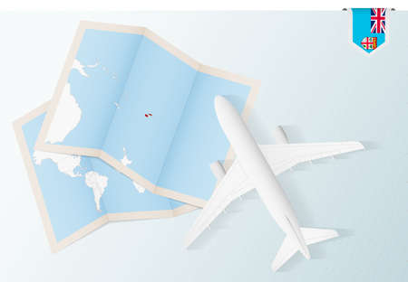 Travel to Fiji, top view airplane with map and flag of Fiji. Travel and tourism banner design. Illustration
