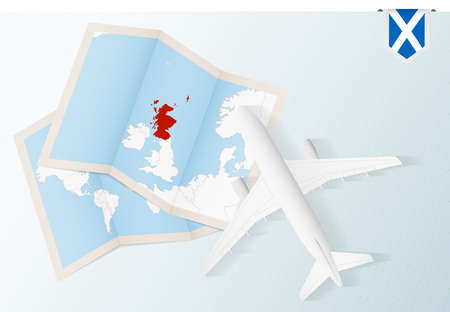 Travel to Scotland, top view airplane with map and flag of Scotland. Travel and tourism banner design.
