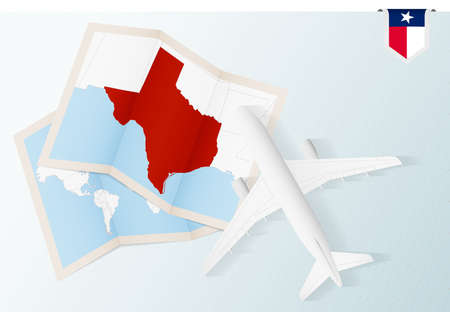 Travel to Texas, top view airplane with map and flag of Texas. Travel and tourism banner design. Vector Illustration