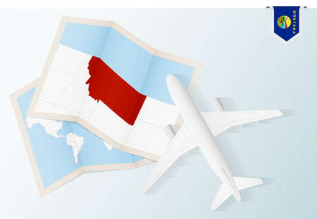 Travel to Montana, top view airplane with map and flag of Montana. Travel and tourism banner design.