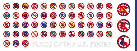 US States flag in shape of Virus Cell. Stop Coronavirus Sign Collection. Vector illustration