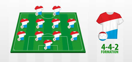 Luxembourg National Football Team Formation on Football Field. Half green field with soccer jerseys of Luxembourg team.