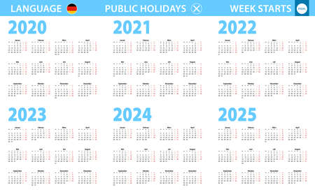 Calendar in German language for year 2020, 2021, 2022, 2023, 2024, 2025. Week starts from Monday. Vector calendar.
