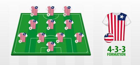 Liberia National Football Team Formation on Football Field. Half green field with soccer jerseys of Liberia team.