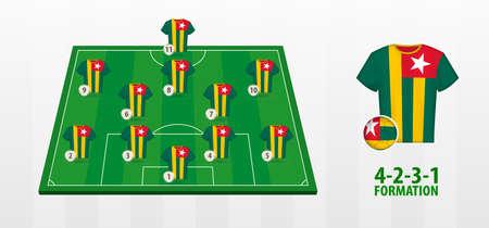 Togo National Football Team Formation on Football Field. Half green field with soccer jerseys of Togo team.