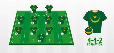 Mauritania National Football Team Formation on Football Field. Half green field with soccer jerseys of Mauritania team.