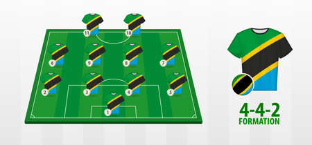 Tanzania National Football Team Formation on Football Field. Half green field with soccer jerseys of Tanzania team.