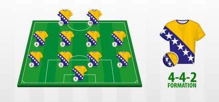 Bosnia and Herzegovina National Football Team Formation on Football Field. Half green field with soccer jerseys of Bosnia and Herzegovina team.
