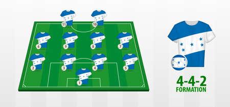 Honduras National Football Team Formation on Football Field. Half green field with soccer jerseys of Honduras team.