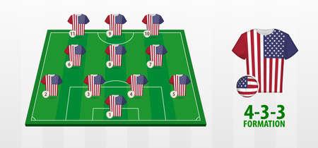 USA National Football Team Formation on Football Field. Half green field with soccer jerseys of USA team.