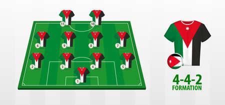 Jordan National Football Team Formation on Football Field. Half green field with soccer jerseys of Jordan team.