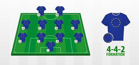 European Union National Football Team Formation on Football Field. Half green field with soccer jerseys of European Union team.
