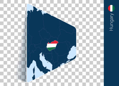 Hungary map and flag on transparent background. Highlighted Hungary on blue vector map.