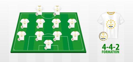 Rhode Island National Football Team Formation on Football Field. Half green field with soccer jerseys of Rhode Island team.