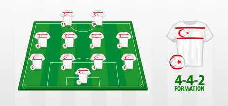 Northern Cyprus National Football Team Formation on Football Field. Half green field with soccer jerseys of Northern Cyprus team.
