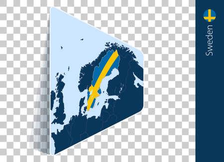 Sweden map and flag on transparent background. Highlighted Sweden on blue vector map.